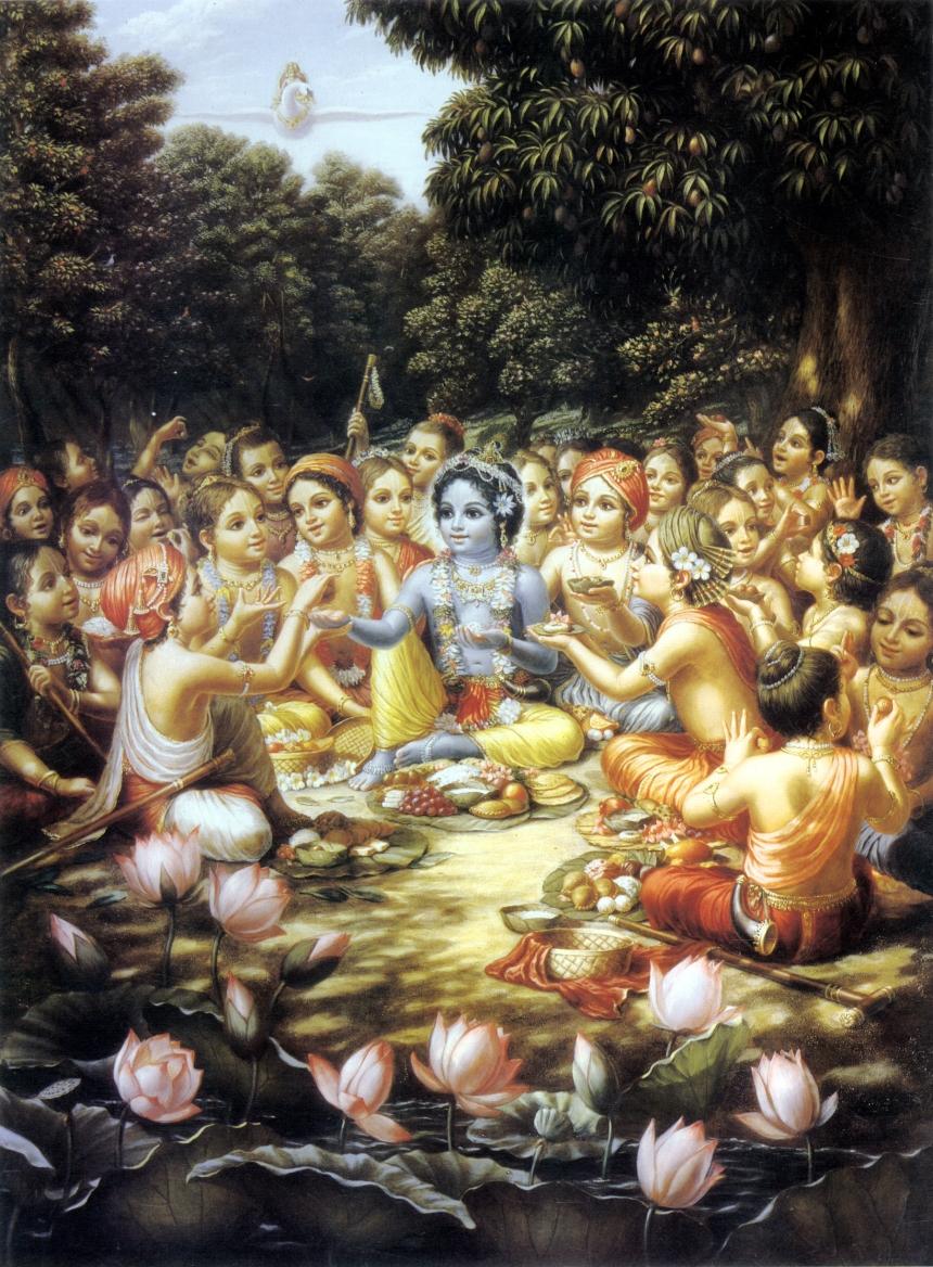 krishna-and-the-gopas-cowherad-boys-eat-their-lunch-in-vrindavan